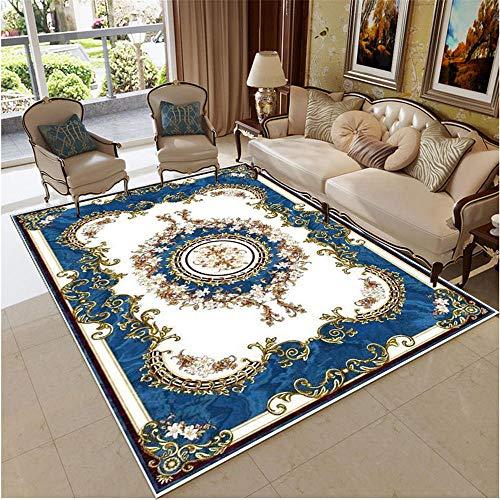 Kunsen alfombras de habitacion Grande Cuadros cabecero Cama Matrimonio Moderna Sala de Estar Alfombra Azul Blanco Hermosa Caminando cómodo Cuadro Salon Grande 160X230CM 5ft 3' X7ft 6.6'