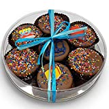 Happy Birthday Chocolate Dipped Oreo Cookies Gift | Olde Naples Hand Decorated Oreo Cookies | Gift Basket 7pc Oreo Cookies Assortment Milk Chocolate (Blue)