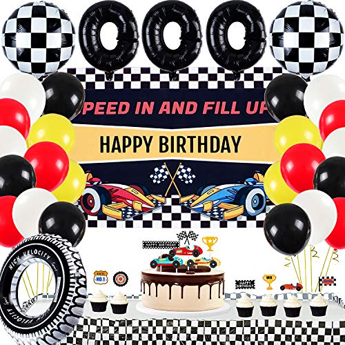 Race Car Birthday Party Supplies Decorations, 24 Balloons, Cloth Happy Birthday Backdrop, Tyre Swim Ring, Tube Balloons, Checkered Balloons, Cake Toppers, Racing Cars Boys Kids Birthday Party Decor