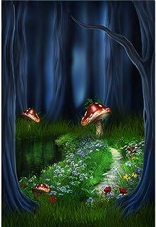 Yeele 91 x 152 cm Zauberwald Hintergrund für Fotografie, Fantasie, Märchen, Pilz Nacht im Dschungel, Wunderland Party, Kinder, Erwachsene, künstlerisches Portrait, Fotokabine, Studio Requisiten