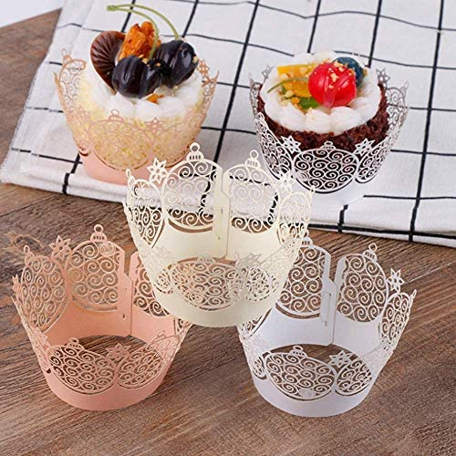 30 Pcs Cupcake Wrappers Laser Cut Papers Bake Cake Paper Crown Lace Hollow Liner Baking Cup product image