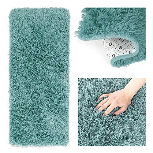 AmeliaHome Alfombra Shaggy de pelo largo, 60 x 120 cm, antideslizante, rectangular, color azul
