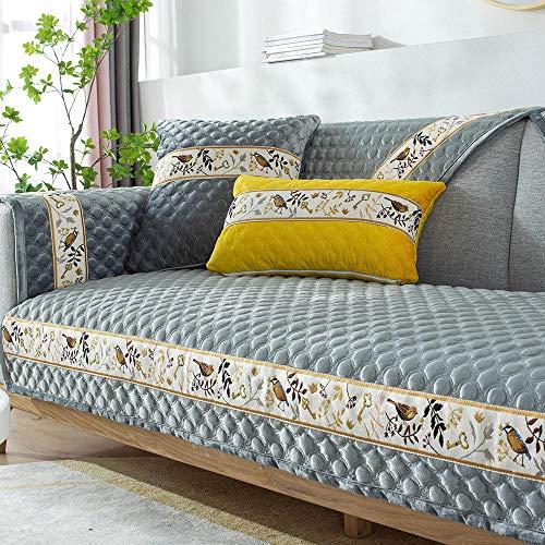YUTJK Funda Universal para Sofá Antideslizante,Funda para Toalla de Sofá,Protector para Muebles,Acolchado de Felpa,Cojín de sofá de Felpa 3D Estilo Chino,para sofás de Cuero,Gris