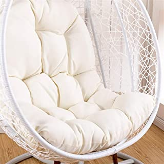 OA&WA Hanging Basket Chair Cushions, Large Seat Cushion Waterproof Hanging Egg Hammock Swing Chair Pads Soft Chair Back Solid Color (Color : White, Size : 125x95cm(49x37inch))