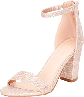 Cambridge Select Women`s Open Toe Single Band Stretch Ankle Strappy Chunky Stacked Block Heel Sandal