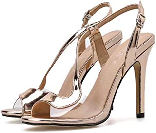 Womens Fish-BilledSandals,Summer PeepToe Hollow-Out Sandals,Ladies Buckle Strap Stiletto Sandals Adjustable Pumps Shoes