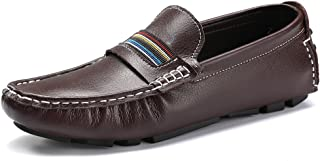 VILOCY Men's Leather Casual Lightweight Driving Moccasins Slip On Dress Flats Boat Shoes