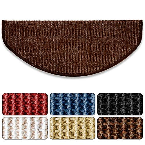 Sisal - Stufenmatte in 2 Größen, MA Dunkelbraun, gewebt in natürlicher, schöner Sisalstruktur,eingepresster Treppenwinkel für sicheren Halt, wohnlichen Farben und rutschsicher für Mensch und Tier
