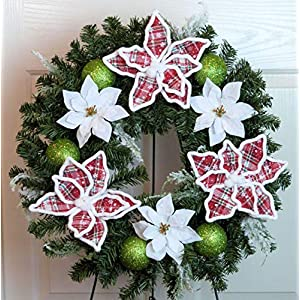 Silk Florals & Frills Poinsettia Cemetery Wreath, Poinsettia Grave Wreath, Christmas Grave Wreath with Ornaments