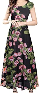 haoricu Ladies Holiday Party Dress Women's Floral Fall Short Sleeve Casual Maxi Wrap Dress