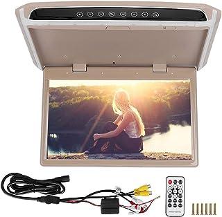 Qiilu Car Monitor, Car Auto 15.6in TFT Ceiling Roof Video 1080P HD Monitor Screen USB TF HDMI Media Player