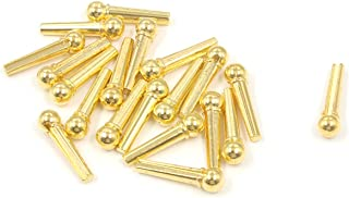FarBoat Instrument Accessories Gold Zinc Alloy Bridge Pins Nails with Round Head Replacements for 6-String Guitar, Banjo, Ukulele, Mandolin, Pack of 20