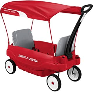 Radio Flyer All Weather Fun Deluxe Family Canopy Wagon, Red/Multicolor Finish