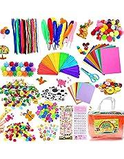 COTTONIX 1100+pcs Bricolage Enfant Pipe Cleaners Crafts Set, DIY Activites Manuelles pour Enfants Comprenant Cure Pipes, Pompons Loisirs Creatifs, Perles, Kit Creatif Enfant Atelier Creatif Enfant