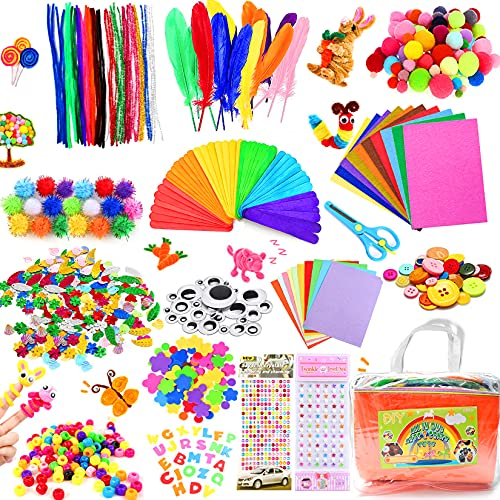 COTTONIX Lavoretti Creativi per Bambini 1100+ PCS, Set Bricolage Materiale per Fai da Te Bambini, Lavoretti Bambini Kit Includere Pom poms, Scovolini, Bastoncino del Ghiacciolo, Piuma, Occhi Finti