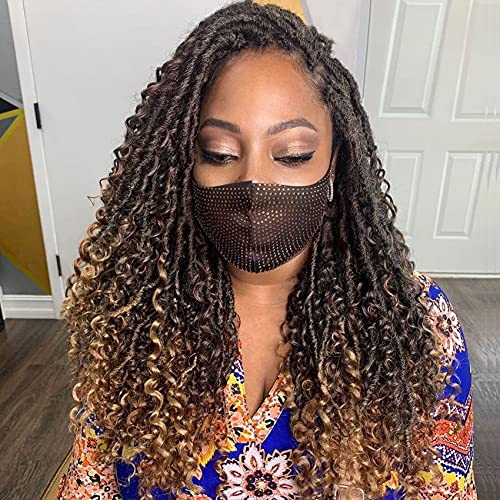 Karida New Goddess Locs Crochet Hair 22 Inch 8Packs River Faux Locs Crochet Hair With Curly Ends River CurlsCrochet Locs Synthetic Braids Hair Extensions (22 Inch (Pack of 8), T1B/27#)
