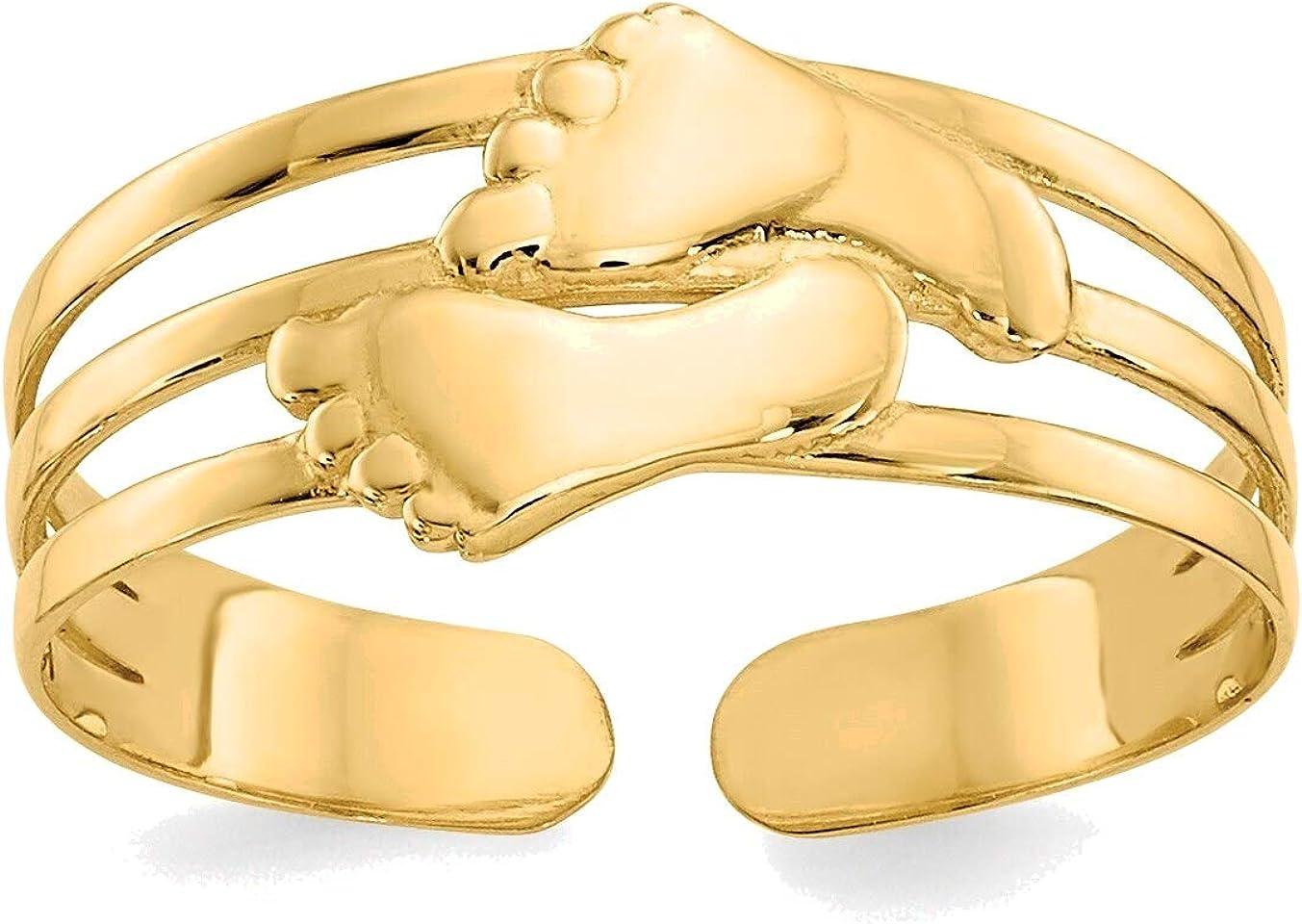 Bonyak Jewelry Bare Feet Toe Ring in 14K Yellow Gold in Size 11