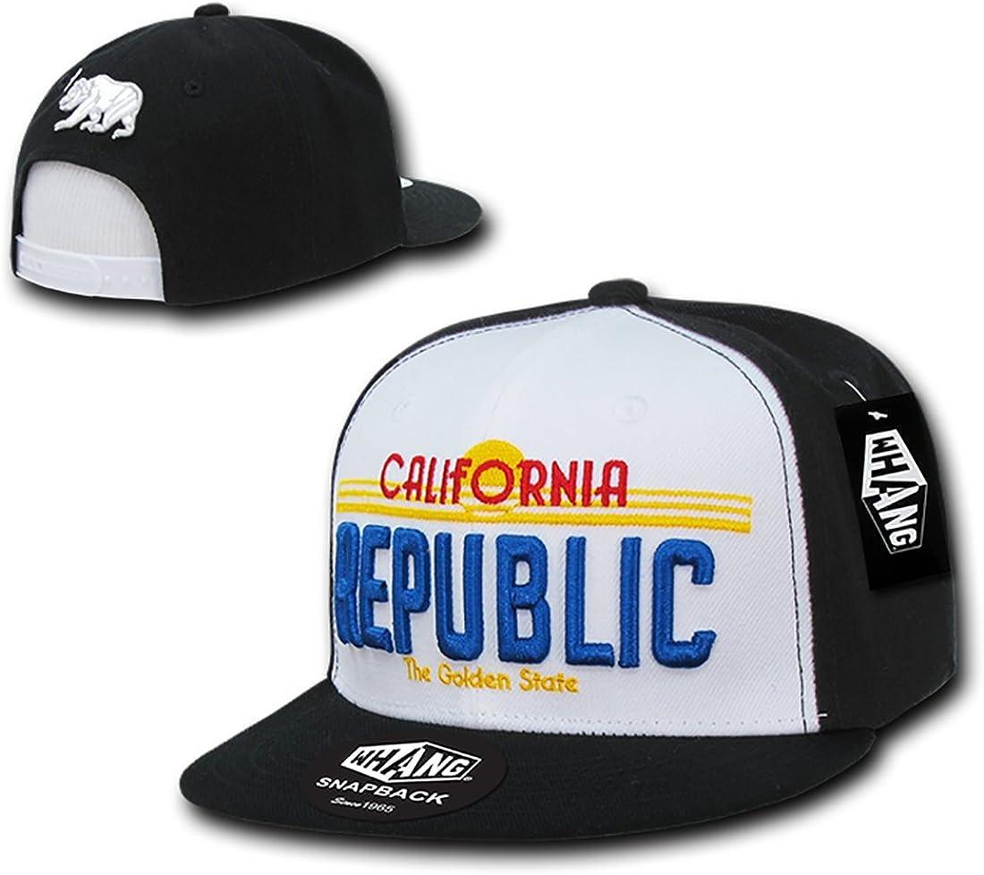 WHANG California Republic Plate Free shipping on posting reviews Flat Baseball Cap Snapback Max 88% OFF Bill