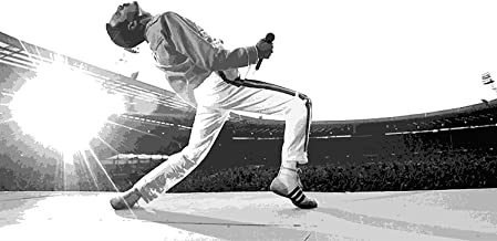 NLopezArt Freddie Mercury of Queen at Wembley 1986 Illustration Rock and Roll Music Icon Pop Art Poster Print (11x17 inches) (11x17)