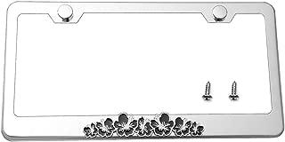 LFPartS Hibiscus 3D Flower Emblem Stainless Steel License Plate Frame (Chrome Frame, Black Flower)