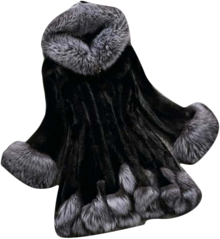 GAGA Womens Hooded Warm Winter Coats Faux Fur Jacket Parka Overcoat
