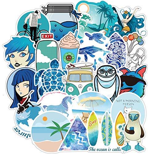KATTERS Dibujos Animados Simple Blue Summer Graffiti Vsco Stickers para Motor y Maleta Cool Laptop Skateboard DIY Waterproof Stickers F3 100Pcs