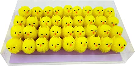 Pack of 36pcs Easter Chenille Chicks Easter Hat Decoration Cake Decoration (Yellow)
