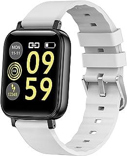 LTLJX Smartwatch, Pulsera Actividad Inteligente Fitness Reloj Hombre Mujer Pulsómetro 1.54 Pulgadas Pantalla Color Calorías Podómetro Cronómetros para iOS Android,Blanco
