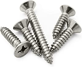 """50PCS 0.12"""" x 0.23"""" 304 Stainless Steel Countersunk Cross Self Tapping Screw Flat Phillips Head Drive Fastener Screw Nails..."""