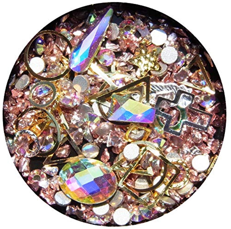 判読できない銛バインド【jewel】メタルパーツ ミックス ラインストーン カーブ付きフレーム ゴールド ネイルアートパーツ レジン (5)