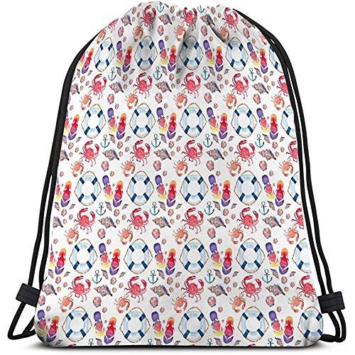 Arvolas Coulisse Sport Backpack Luminoso colorato Bella Estate Marine Beach Pattern Infradito Granchi Rossi Pastello Carino Conchiglie Blu Lifebuoy Scuro