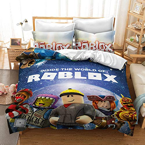 Elsdsnky 3 Pcs Duvet Cover Set with Two Pillow Cases Roblox Print Bedding Set Soft Microfiber Bedding Package Duvets and Pillowcases for Children Teens Adults (220x230 cm, 2x50x75 cm)