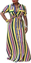 Women's Sexy Off Shoulder V Neck Long Sleeve Striped Long Maxi Dress with Belt