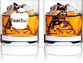 "AGMdesign, Funny Two Sided""Good Day Bad Day Don't Even Ask"" Teacher Whiskey Glasses Gift for Teacher's, educator, teaching..."
