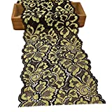 5 Yards Metallic Floral Lace Ribbon Stretch Tulle Lace Trim Elastic Nigerian African Fabric Width 7 Inch for DIY Craft Jewelry Making Clothes Accessories Gift Wrapping Wedding Party Decor (Gold)