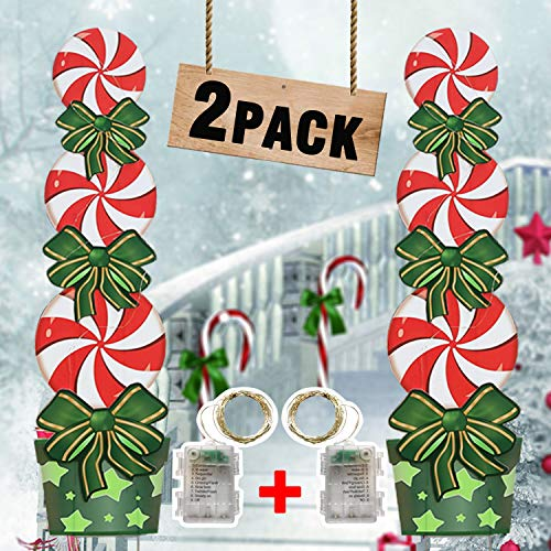 HOSKO Christmas Yard Decorations, 2Pack Candy 47inch Yard Signs Stakes with String Lights,Halloween Xmas Décor for Outdoor Giant Holiday Candyland Themed Party Walkway Pathway Lawn Garden