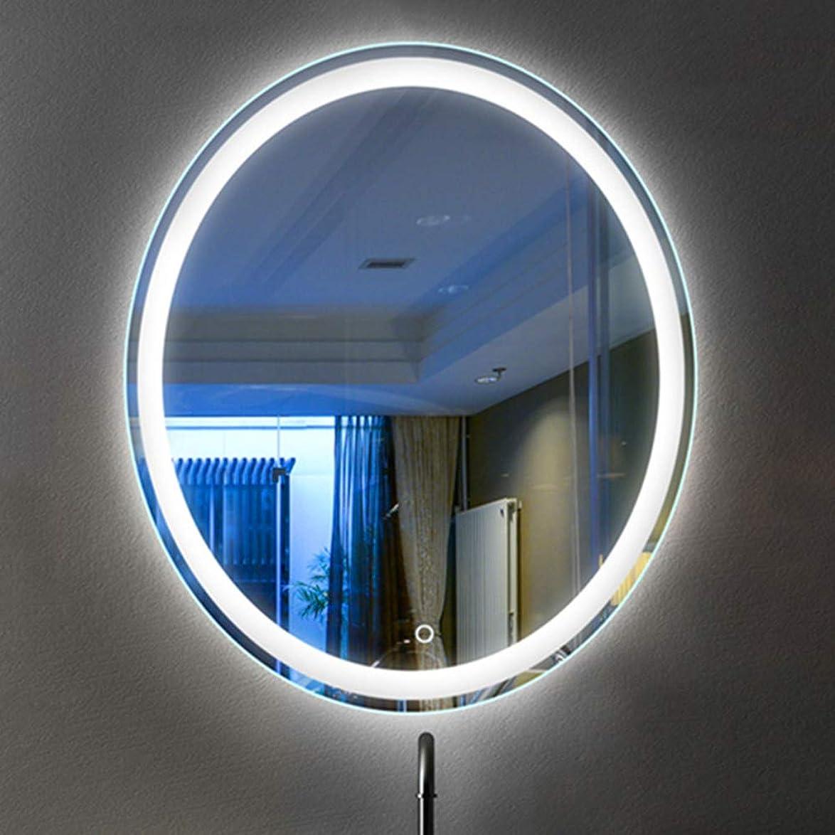 社交的と闘うオーナメント楕円形のバスルームミラースマートLEDライトミラータッチスイッチ防水壁掛けバスルームミラー、HDイメージング、耐久性、ホームホテルの装飾