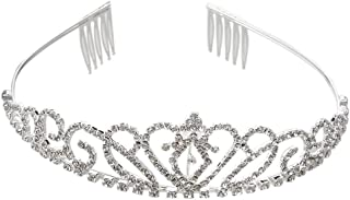 SALOCY Princess Tiara Crown Hair Loop with Comb For First Communion Wedding Sliver