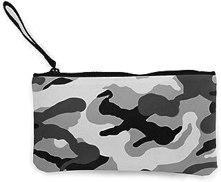 N \ A Unisex Geldbörse, Münztaschen, Segeltuch, Münzgeldbörse mit Reißverschluss, für Handy, Bargeld, Bankkarte, Reisepass, Münze, Armee-Camouflage, graue Camouflage, tragbare Tasche