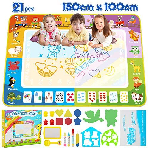 lenbest Super Groß Aqua Magic Doodle Matte, 150*100cm Wasser Doodle Malmatte mit 2 Tiervorlage & Werkzeuge Rolle Stempel & Vielfältiges Zubehör, Mehrere Farbbereiche Spielzeug-Geschenk für Kinder