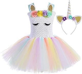 Girls Rainbow Unicorn Tutu Dress Princess Fancy Dress Birthday Pageant Party Dresses Girls Christmas Halloween Pony Cospla...