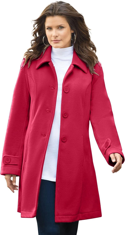 Roaman's Women's Plus Size Plush Fleece Jacket Soft Coat - 1X, Classic Red