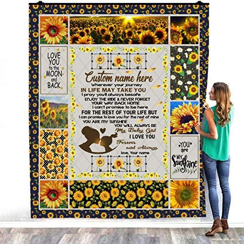 TeeShiny Mantas de cama personalizadas para mi hija con el texto 'Wherever Your Journey In Life May Take You' de girasol, para decorar dormitorios, hogar, manta sherpa (127 x 152 cm)