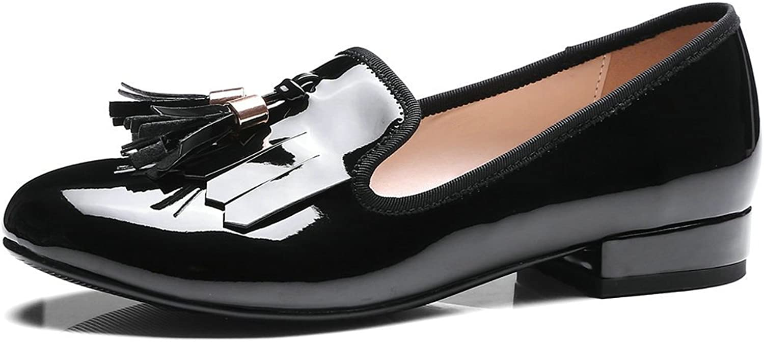 AIWEIYi Womens Oxfords shoes Tassel Square Low Heel Slip on Loafer shoes Black
