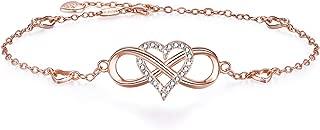 "BlingGem Womens Ankle Bracelet 925 Sterling Silver Anklet Cubic Zirconia Infinity Heart Summer Anklet Girls Chain Adjustable 10.8"""