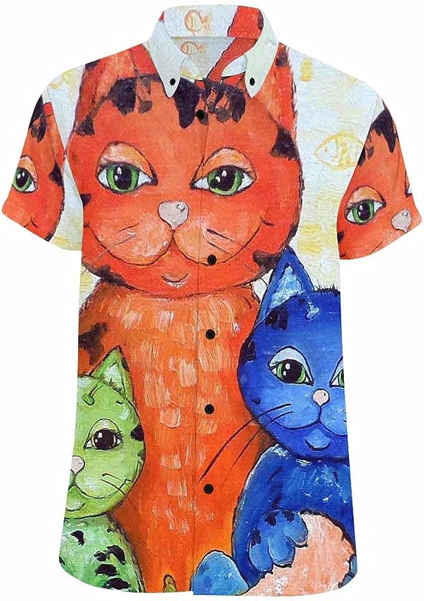 InterestPrint Cat Wearing Sunglasses Men's Spread Collar Tops Short Sleeve Printed Button Shirt