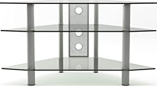 Gibson Living Ruby 44 Inch Corner Glass TV Stand Silver and Clear Glass
