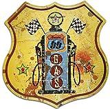 SUDAGEN Señal de Metal Vintage Route 66 con Texto en inglés «Highway Gas Online» para decoración del hogar de 12 Pulgadas