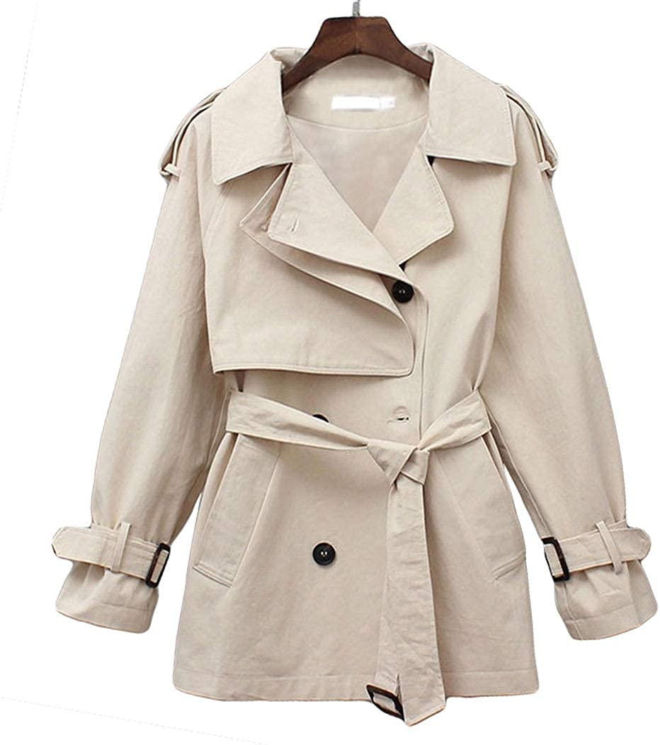 GGUHHU Women's Fashion Double Breasted Coat Notched trust Short Co Seattle Mall Pea