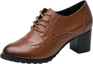 rismart Femme Brogue Bout Pointu Wingtips Cuir Oxfords Lacer Derbies Chaussures